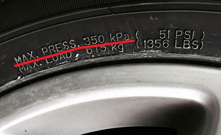 Максимальное давление на маркировке шины