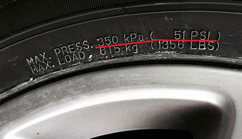 Максимальное давление в шине