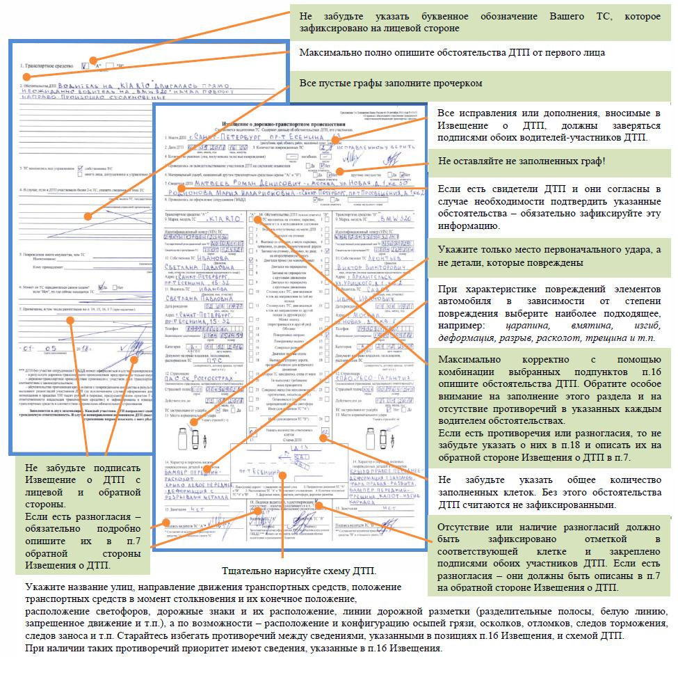 Оформление бланка европротокола